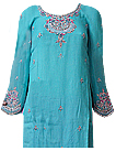 Turquoise/Pink Chiffon Suit- Indian Semi Party Dress