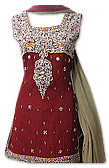 Maroon/Beige Chiffon Lehnga- Pakistani Wedding Dress
