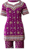 Dark Purple Jamawar Zari Gharara - Pakistani Wedding Dress