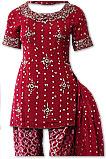 Red Jamawar Zari Gharara  - Pakistani Wedding Dress