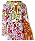Red/white Crinkle Chiffon Suit   - Pakistani Casual Dress