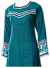 Teal/White Khaddar Suit- Pakistani Casual Dress