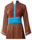 Brown Khaddar Suit- Pakistani Casual Dress