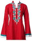 Red Linen Suit - Pakistani Casual Dress