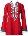 Red Linen Suit