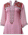 Pink/Red Jamawar Chiffon Suit