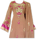 Brown/Hot Pink Georgette Suit