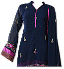 Navy Blue/Shocking Pink Georgette Suit