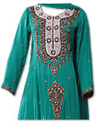 Sea Green Crinkle Chiffon Suit- Pakistani formals