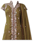 Mehdi Green/Maroon Crinkle Chiffon Suit- Indian Party dress