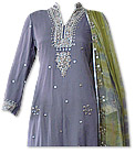 Blueberry/Parrot Green Crinkle Chiffon Suit