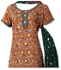 Rust/Dark Green Jamawar Chiffon Suit- Pakistani party wear