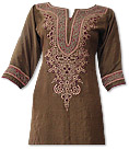 Brown Chiffon Suit - Indian Semi Party Dress