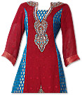 Red Jamawar Chiffon Suit