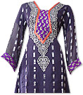 Dark Blueberry/Purple Jamawar Chiffon Suit