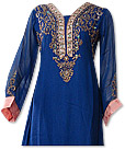 Royal Blue/Peach Chiffon Suit- Indian Dress