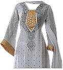 White Jamawar Chiffon Suit- Indian Semi Party Dress