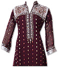 Maroon Jamawar Chiffon Suit - Indian Semi Party Dress