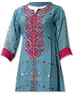 Turquoise Jamawar Chiffon Suit - Indian Dress