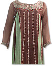 Brown/Light Green Crinkle Chiffon Suit- Pakistani party wear