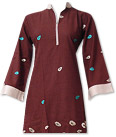 Dark Brown Cotton Khaddar Suit - Pakistani Casual Clothes