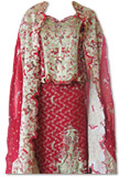 Maroon/Cream Katan Silk Jamawar Lehnga- Pakistani Wedding Dress