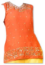 Orange/Yellow Georgette Trouser Suit- Indian Semi Party Dress
