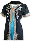 Black/Turquoise Chiffon Trouser Suit - Pakistani Casual Dress