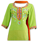 Parrot Green/Orange Georgette Suit - Pakistani Casual Dress