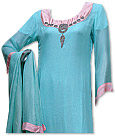 Turquoise Chiffon Suit - Indian Semi Party Dress