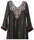 Dark Grey Jamawar Chiffon Suit - Indian Semi Party Dress