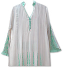 White/Sea Green Georgette Suit
