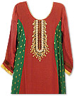 Red/Green Chiffon Suit- Indian Semi Party Dress