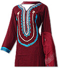 Maroon/Turquoise Marina Suit- Pakistani Casual Clothes