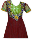 Maroon/Green Chiffon Suit - Indian Semi Party Dress