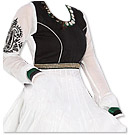 White/Black Chiffon Suit - Indian Semi Party Dress