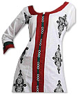 White/Red Georgette Suit - Pakistani Casual Clothes