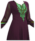 Dark Magenta Georgette Suit - Indian Semi Party Dress