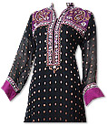 Black/Magenta Chiffon Jamawar Suit - Indian Semi Party Dress