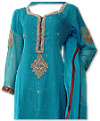 Turquoise Crinkle Chiffon Suit - online formal clothing