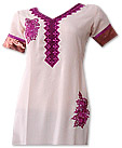 Off-white/Dark Purple Georgette Suit- Pakistani Casual Clothes