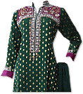 Dark Green/Magenta Chiffon Jamawar Suit - Indian Semi Party Dress