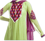 Lemon Green/Purple Chiffon Suit - Indian Semi Party Dress