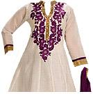 Off-White/Purple Georgette Suit
