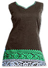 Brown/Sea Green Georgette Suit   - Pakistani Casual Dress