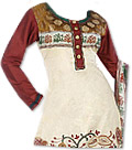 Brown/Off-White Georgette Suit - Indian Dress