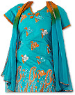 Turquoise/Orange Georgette Suit