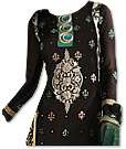Black/Sea Green Chiffon Suit- Indian Semi Party Dress