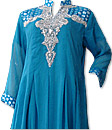 Turquoise Chiffon Suit- Indian Semi Party Dress