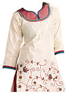 Off-white/Red Georgette Suit  - Indian salwar kameez